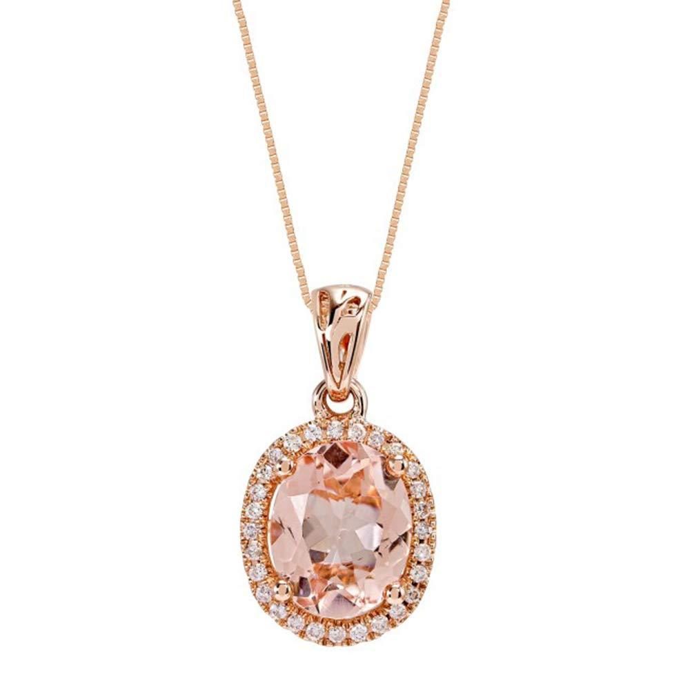 10K Rose Gold 1.50 Ct Oval Cut Created Morganite /& Simulated Diamond Halo Pendant With 18 Chain