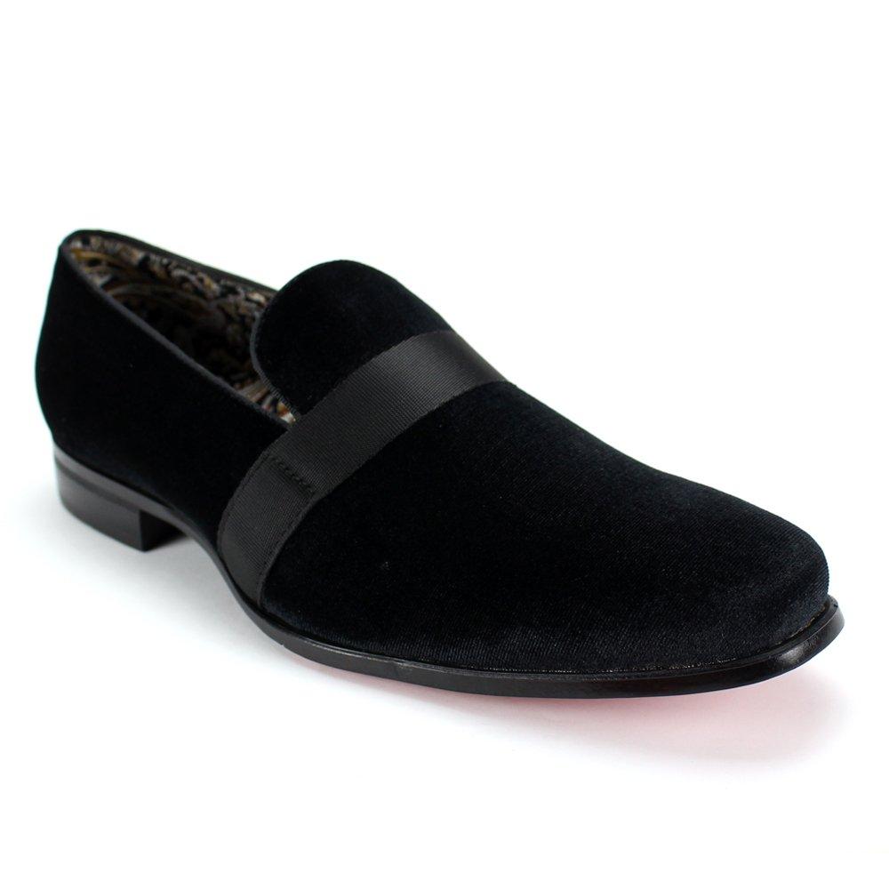 AFTER MIDNIGHT 6660 Velvet Smoker Strap Smoking Slipper Loafer Slip on High Fashion Dress Shoe (8, Black)