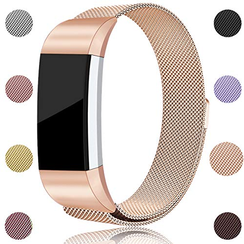 Maledan Compatible with Fitbit Charge 2 Bands, Stainless Steel Milanese Loop Metal Replacement Accessories Bracelet Strap with Unique Magnet Lock for Fitbit Charge 2 HR Royal Gold Small