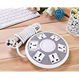 QOCOO 6 Outlet 2 USB Home office Creative UFO Shape Power Strip Sockets Multi Outputs Phone Charging Station Overload Protection 6ft Cable US Plugs 2500w 10A 5V 2.1A Charge for iPhone Plus iPad Mini Samsung Galaxy Tablet and Other Smartphone (GRAY)