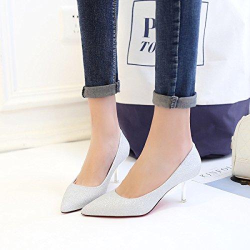 Alto Boca Con Moda Una De Lentejuelas Zapatos La Las Mujeres Boca Tacón Silver De Baja Apuntaron GRRONG Zapatos Sola De La Baja Con vwt4aqC4