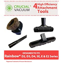Rainbow Attachment Tool Kit Fit Rainbow D2, D3, D4, SE, E, E2 Series, (includes) 1 Dusting Brush, 1 Crevice Tool, 1 Floor Brush, 1 Upholstery Tool, Designed & Engineered By Crucial Vacuum