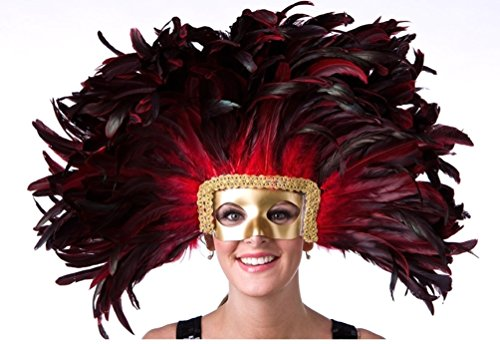 Mardi Gras Headdress (Zucker Feather Mask/Headdress with Coque Feathers, Red)