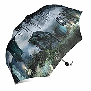 InterestPrint Halloween Scenery with Tombstones, Candles and Scarecrow Foldable Portable Outdoor Travel Compact Waterproof Umbrella