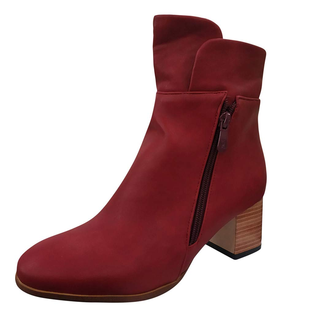 Respctful✿Women Ankle Boots Roman Pointed Casual Booties Spring Autumn Ladies Western Stretch Fabric Boots Leather Red by Respctful_shoes