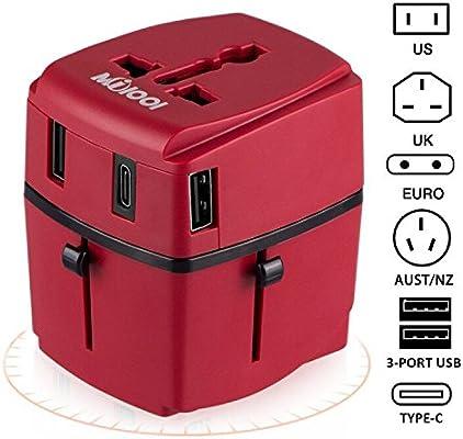Adaptador de viaje, Milool Cargador 3 Puertos USB Y Tipo-C ...