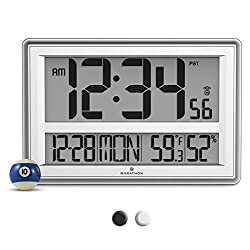 MARATHON CL030056SV Jumbo Atomic Wall Clock with Temperature and Humidity - Batteries Included