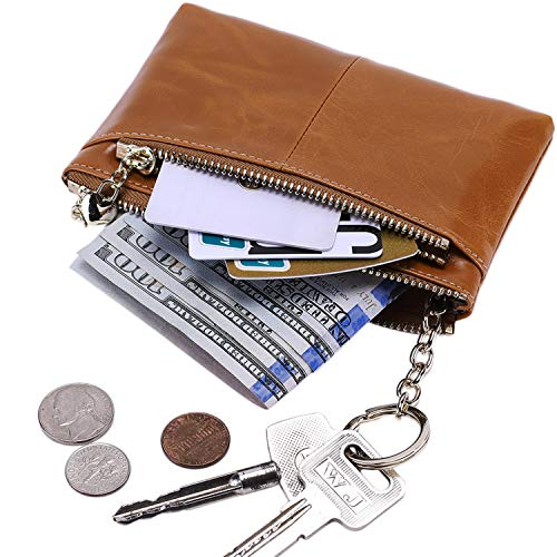 Itslife RFID BLOCKING Triple Zipper Leather Mini Coin Purse Card Holder with Key Chain (2-CAMEL)