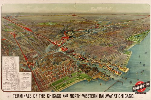 Chicago Northwest Railway Terminals MAP circa 1902 - measures 24