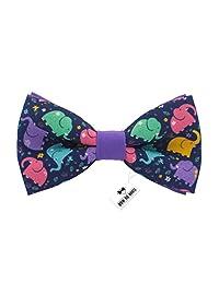 Bow Tie House Elephant pattern bow tie purple color unisex pre-tied shape