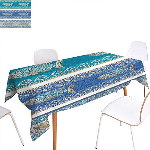 (familytaste Mosaic Patterned Tablecloth Ancient Style Byzantine Ceramics Inspired Maritime Fractal Fish Pattern Artwork Dust-Proof Oblong Tablecloth 70