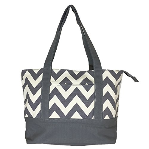 NEW! High Quality Zippered Pattern Prints Large Roomy Canvas Tote Bag,Chevron Grey -