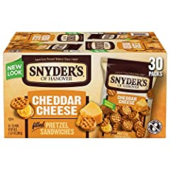 Imagine real, delicious cheddar cheese sandwiched between two crunchy bite-size pretzels. Perfect for snack for game day, on the go, or with your lunch time sandwich. Both kids and adults love this cheesy, wholesome snack, in convenient small bags.