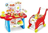 2 in 1 Mini Supermarket Stall Play Set Kids Cashier Till & Shopping Trolley