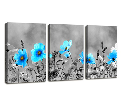 Modern Salon Theme Black and White Peacock Blue Vase Flower Abstract Painting Still Life Canvas Wall Art for Home Decor 12x16inches 3pcs/set (Blue Vase Set)