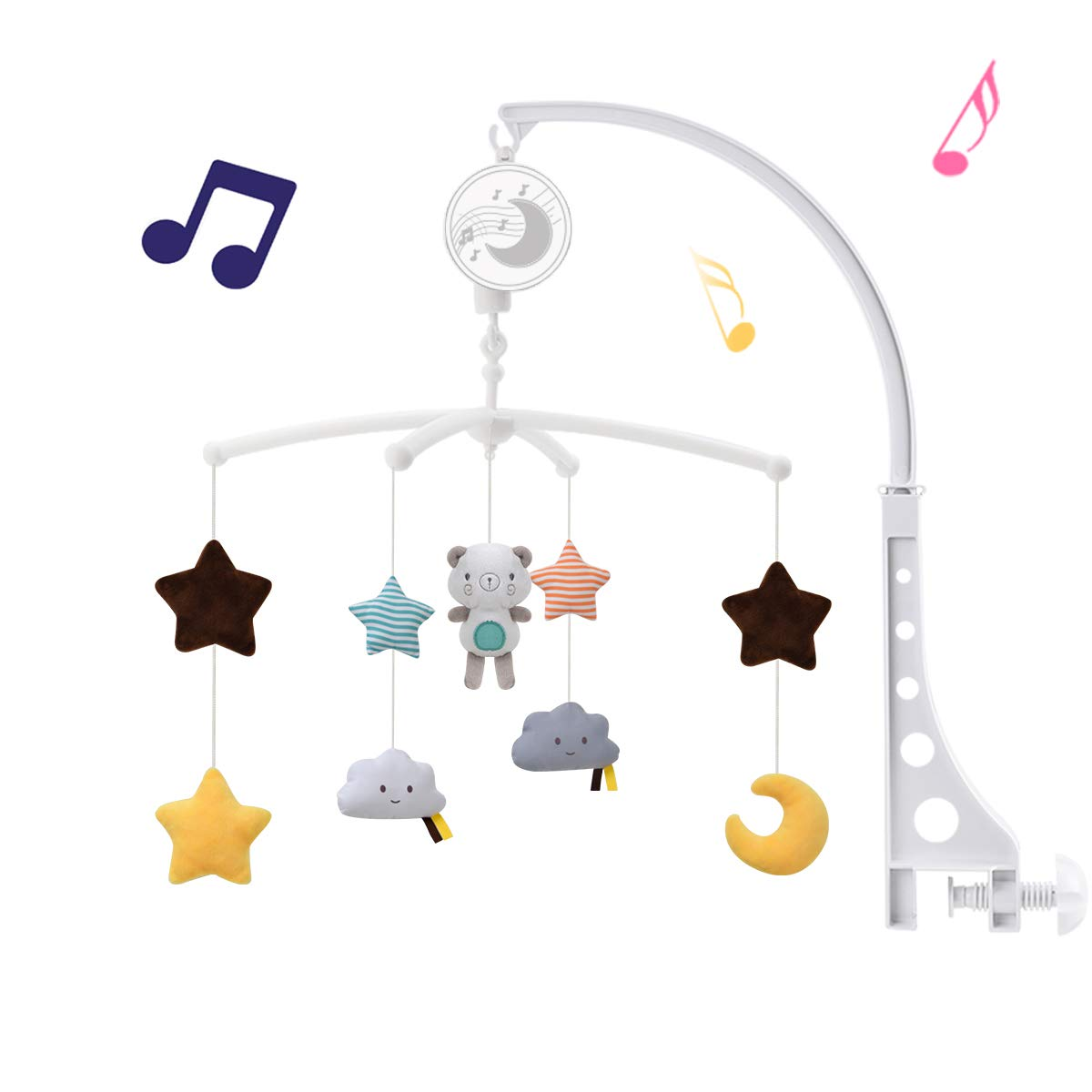 Baby Musical Crib Mobile with Hanging Rotating Toys,Infant Bed Decoration for Newborn Boys and Girls