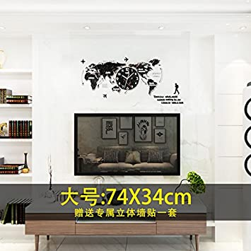 Amazon y hui the map of the world quartz clocks wall clock y hui the map of the world quartz clocks wall clock living room atmosphere living gumiabroncs Choice Image