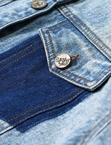 Manica Giacca Vintage Lavaggio Sack Jeans Elf Jacket Strappato Light Patchwork Di Medio Lunga Blu Donna Jean Plaid UzXwRE