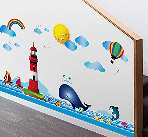 BIBITIME Ocean Sea Sailboat Whale Lighthouse Wall Decals Rainbow Cloud Sun Seagull Hot Air Balloon Vinyl Stickers Peel and Stick Decal for Nursery Bedroom Children Kid Baby Infants Toddler Room ()