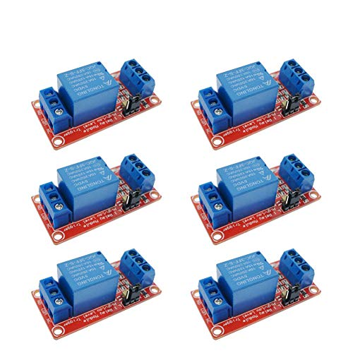 (FICBOX 6Pack 5V One 1 Channel Relay Module Board Shield With Optocoupler Support High And Low Level Trigger Power Supply Module For Arduino)
