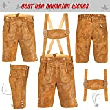 QUALITY WEARS USA Authentic German Bavarian Oktoberfest Trachten Men Wear Short Lederhosen Black (USA 40, Gold Plain)