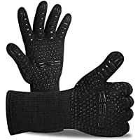 BBQ Gloves 800 ? / 1472 ? Extreme Heat Resistant Grilling Gloves Non-Slip Oven Gloves with Fingers Outdoor Cooking Mitts for Barbecue, Grill, Cooking (Black 1 Pair)