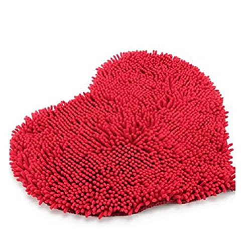 1 Piece Red Love Heart Soft Microfiber Fluffy Rug Carpet Bat