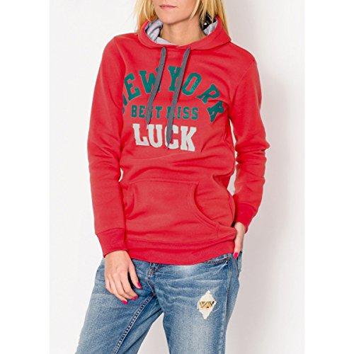 Fashion Mujer Sudadera Sudadera Capucha bolsillo canguro con Statement Print, otros colores Coral (Pink)