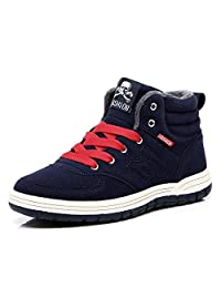 Do.BOMRVII Men's Casual Winter Fur Lining Warm Snow Boots Skate Shoes High Top Sneakers