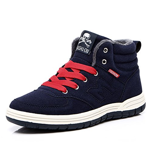 Do.BOMRVII Mens Casual Winter Warm Snow Boots Skate Shoes High Top Sneakers With Velvet Dark Blue