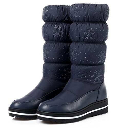 Slip SnowBlue Fur Lined 5 On High Winter Size Boots 5 Platform Wedge 9 Warm Knee 2 Waterproof Snow GFONE Rhinestones Boots Women's Rw8Cnx1q6