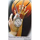 Boy's St. Christopher Pewter Basketball Medal with 24in Silver Tone Chain
