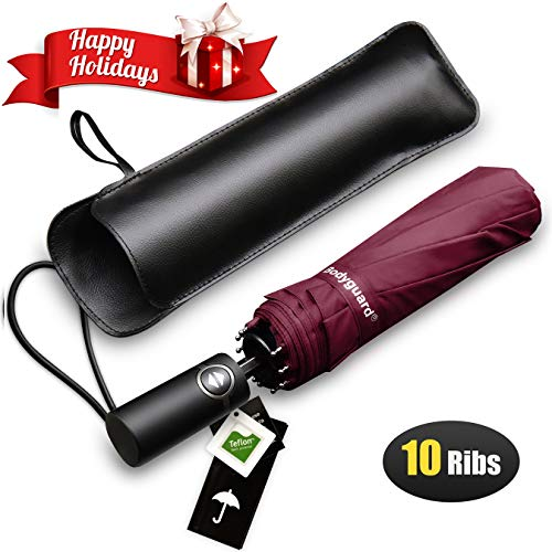 Bodyguard Travel Umbrella, 10 Ribs Finest Windproof Umbrella with Teflon Coating, Auto Open Close and Upgraded Comfort Handle - Gift Leather Cover (Red)