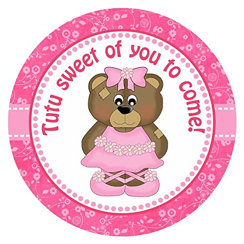 [Pink Ballerina Bear Thank You Sticker Labels - Set of 30] (Holiday Recital Costumes)