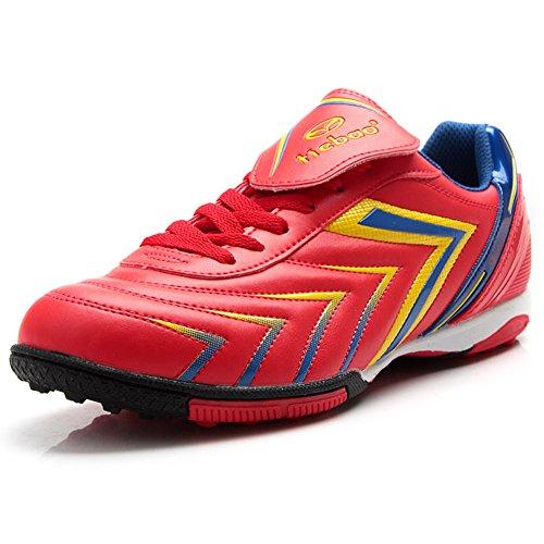 Tiebao Hombre fútbol de césped Deporte Zapatos de Fútbol PU Cuero Rojo