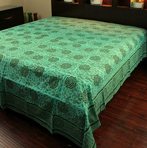 Mikash Cotton Blossom Floral Tapestry Tablecloth Bedspread Beach Sheet Queen Green | Model TBLCLTH - 317