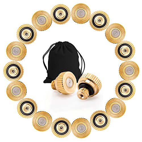 Sywon Brass Misting Nozzles Replacement Heads 20 Pack for Garden Patio Lawn Landscaping Dust Control and Outdoor Cooling Mister System, 10/24 UNC