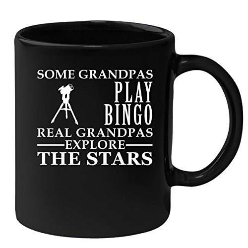 Astronomy Black Coffee Mug, Grandpa Birthday Present Mug, Funny Mug for Coffee 11oz Some Grandpas play bingo, real Grandpas explore the stars by the cool sloth