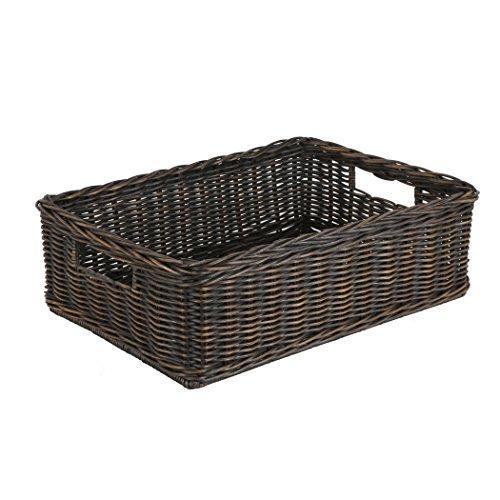 Wicker 6 Baskets (The Basket Lady Under the Bed/Basic Wicker Storage Basket, Medium, Antique Walnut Brown)