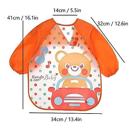 4-Pack Skroad Long Sleeve Baby Bibs for 6-36 Months Unisex Waterproof Feeding Bibs for Infant Child Toddler