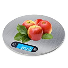 SUMCOO Digital Kitchen Scale,Stainless Steel Cooking Scale,Hanging Baking Food Scale,Measuring Counting Nutrition Gram Scale 5KG/11 LB Black (round)