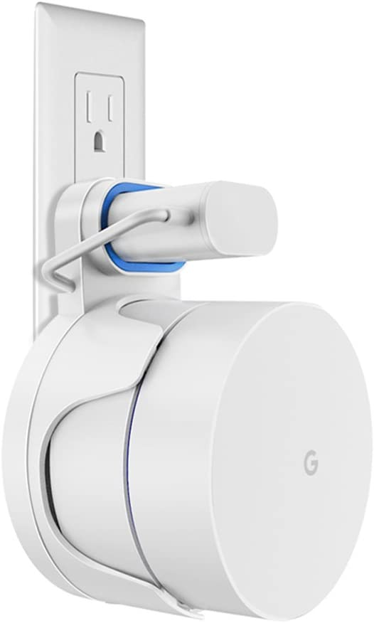 Outlet Wall Mount Holder Bracket for Google WiFi routers and Beacons, diseño for Winding Google Malla WiFi Node Sistema Cord (1 Pack)