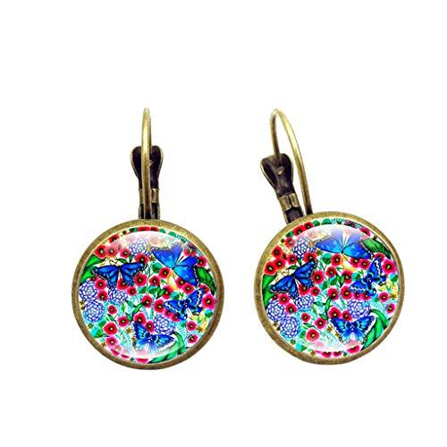 Kofun Earrings, 2 Pcs Creative Retro Vintage Mandala Pattern Earrings Alloy Glass Gem Elegant Danglers Female Jewelry Girls Gift - Gem Dangler