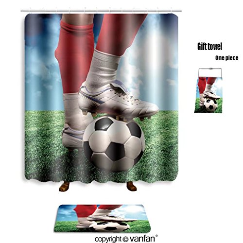 vanfan bath sets with Polyester rugs and shower curtain a close up of a soccer ball and a feet of a s shower curtains sets bathroom 48 x 72 inches&23.6 x 15.7 (Free 1 towel and 12 (Virginia Soccer Ball Rug)