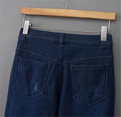 Byjia Espesado Y Vaqueros Elástico En La Cintura De Cachemira Térmicos Pantalones Mujer Denim Azul Profundo Relajado Ajuste Potencia De Pierna Recta