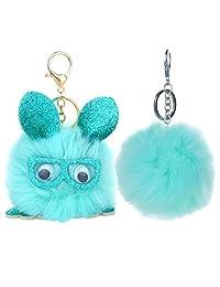 BodyJ4You 2PCS Pom Pom Faux Fur Keychain Fluffy Fox Ball Purse Wallet Car Key Clasp Ring Set