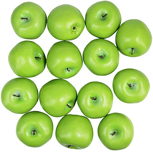 Winlyn 14 Pcs Artificial Green Apples Realistic Fake Fruits Decorative Apples Lifelike Simulation for Photo Props Bowl Basket Filler Wreath Making Fruit Display Kitchen Cabinet Décor (Small Green Fruit That Looks Like An Apple)