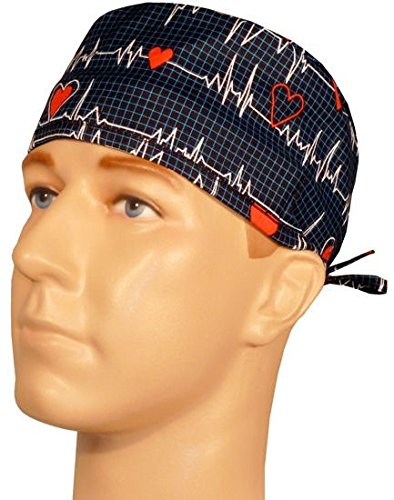 Mens and Womens Surgical Scrub Cap - Heartbeats on Navy (Men Surgical Caps compare prices)
