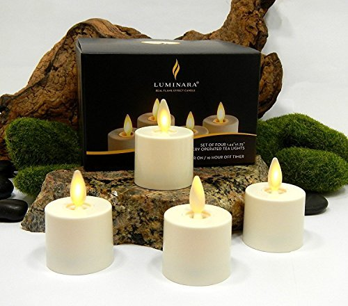 Luminara Tea Lights BATTERY OPERATED Flameless Candles Ivory: 4 PIECE SET - 1.44'' x 1.25'' w/ Auto-Timer | Batteries Included | Lantern, Patio, Bath, Wedding, Reception, Bridal, Baby, Catering, Events