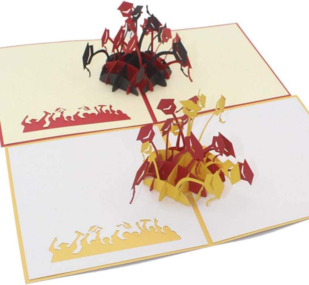 Tarjeta de graduación 3D con sobre, tarjeta de graduación pop up original para abogado, ingeniero o médico, regalo de tarjeta para estudiantes diplomados, 15 cm x 15 cm, juego de 2